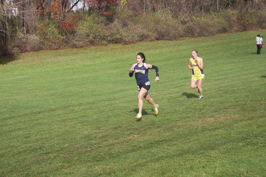 Weston senior tri-captain Kara Bucaro finished 18th at the State Open with a time of 19:41 last Friday at Wickham Park in East Hartford. Bucaro qualified for the New England championships, which takes place tomorrow in Vermont. Photo: Contributed Photo