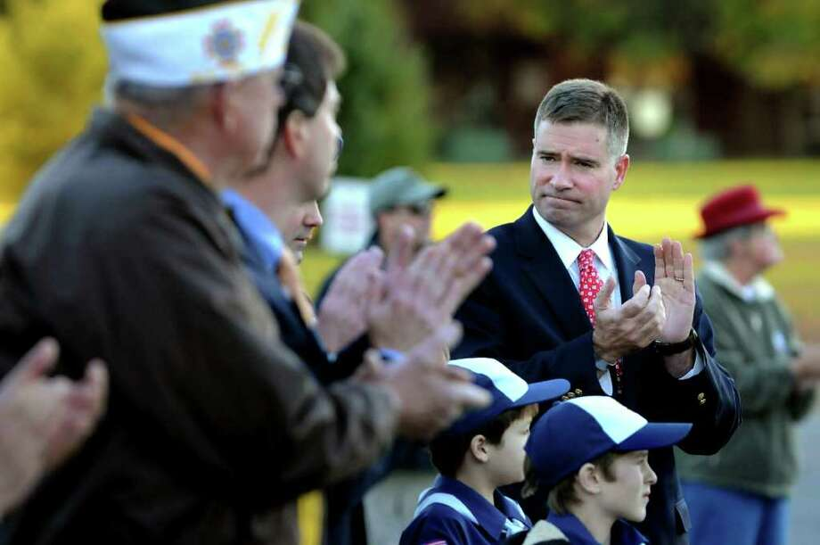 Congressman-elect Chris Gibson, right, participates in a Veterans Day ceremony to honor veterans of the Iraq War on Thursday, Nov. 11, 2010, at Clifton Park Commons in Clifton Park, N.Y. (Cindy Schultz / Times Union) Photo: Cindy Schultz