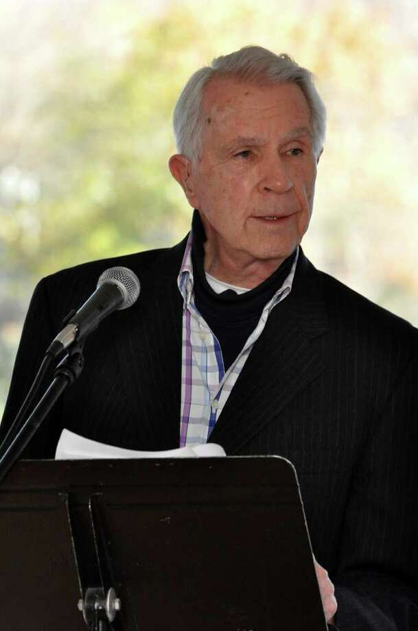 "James Noble reads a poem titled ""I have a Rendezvous with Death"" by Alan Seeger during the Out of War literary competition at the Westport Arts Center on Thursday, Nov. 11, 2010. Noble's brother Ralph was killed on D-day. Photo: Amy Mortensen / Connecticut Post Freelance"