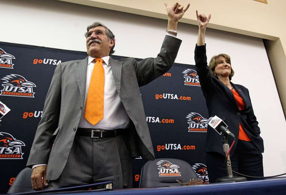 UTSA president Ricardo Romo and athletic director Lynn Hickey announce that the school will join the Western Athletic Conference.