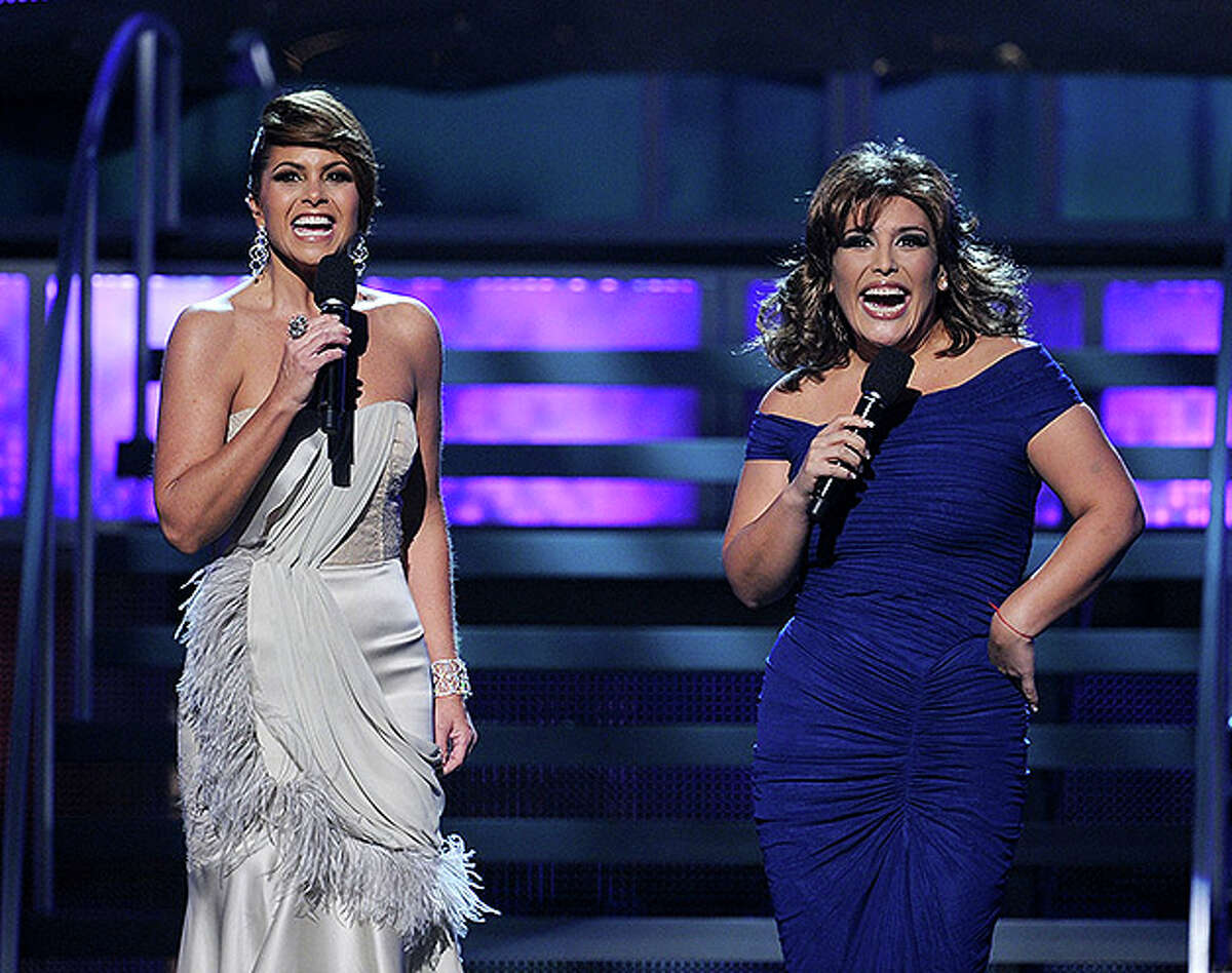 LAS VEGAS - NOVEMBER 11: Host Lucero (L) and actress Angelica Vale onstage during the 11th annual Latin GRAMMY Awards at the Mandalay Bay Events Center on November 11, 2010 in Las Vegas, Nevada. (Photo by Kevin Winter/Getty Images for LARAS) *** Local Caption *** Lucero;Angelica Vale