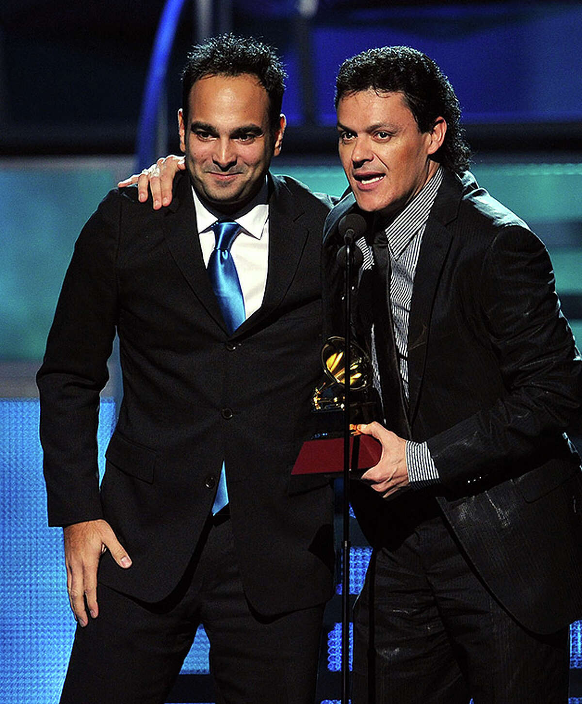 LAS VEGAS - NOVEMBER 11: Yoel Henriquez (L) and Pedro Fernandez accept the Best Regional Mexican Song award onstage during the 11th annual Latin GRAMMY Awards at the Mandalay Bay Events Center on November 11, 2010 in Las Vegas, Nevada. (Photo by Kevin Winter/Getty Images for LARAS) *** Local Caption *** Yoel Henriquez;Pedro Fernandez