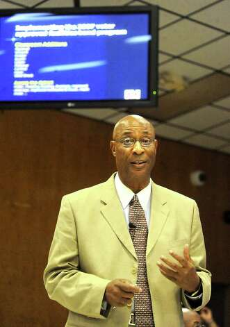 BISD Superintendent, Dr. Carrol Thomas gives a power point presentation on the progess of bond projects and the districts academic rankings during the BISD board meeting at the BISD Administration building in Beaumont, Thursday. The Beaumont Board of Realtors released a statement against the board's plans to do a feasibility study for building a hotel and event center in partnership with private business. Tammy McKinley/The Enterprise Photo: TAMMY MCKINLEY / Beaumont