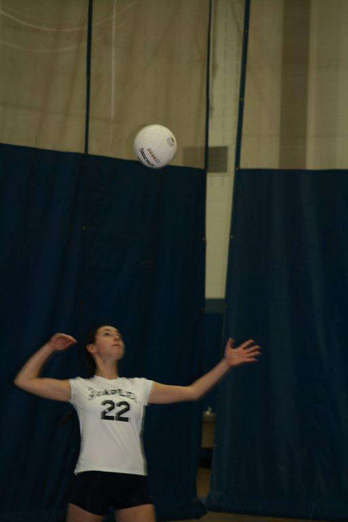 Staples senior tri-captain Dana Rappaport served two points to tie the second game, 24-24, which Staples won 30-28 at Glastonbury on Thursday. The Lady Wreckers won 3-1 at Glastonbury to advance to the Class LL quarterfinals.