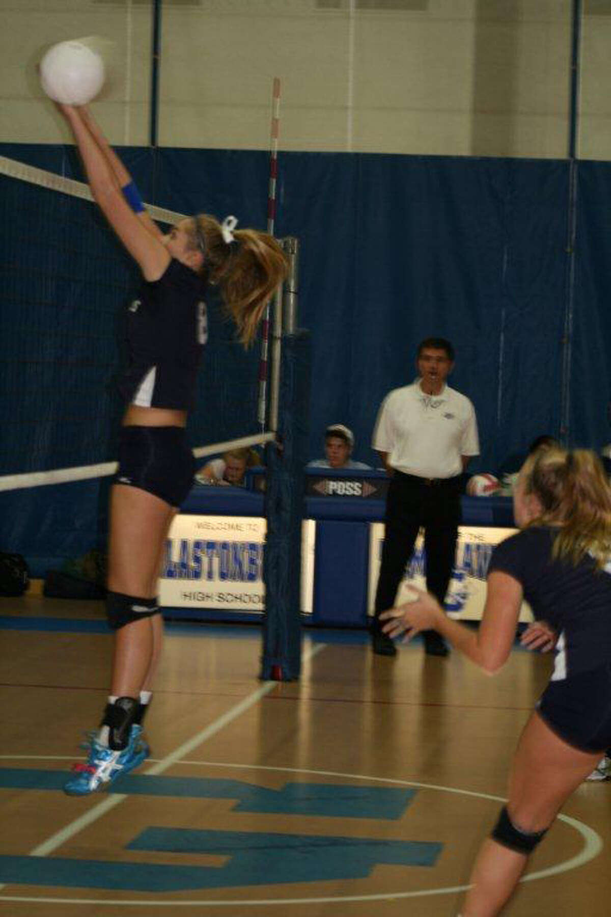 Staples junior Joosje Grevers had 10 kills and eight blocks on Thursday in a 3-1 win at Glastonbury in the second round of the Class LL playoffs.