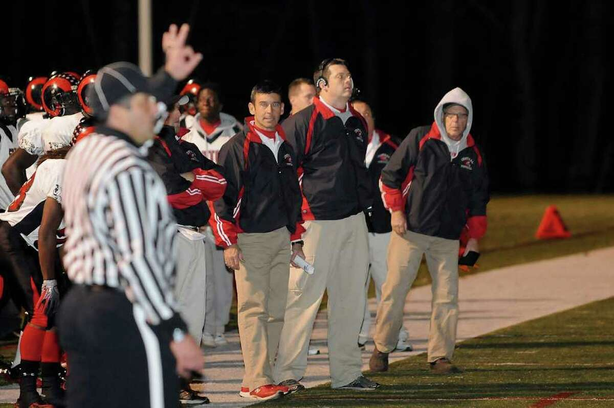 New Canaan High School hosts Central High School in varsity football in New Canaan, Connecticut on Friday, November 12, 2010.