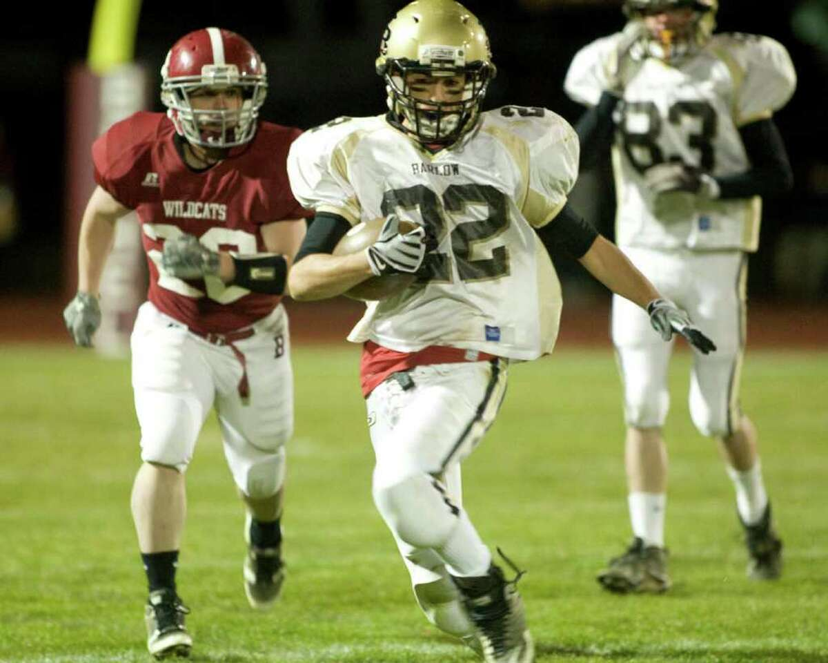 Joel Barlow's Andrew Bindleglass finds running room against Bethel during an SWC game Friday night, Nov. 12, 2010, at Bethel High School.