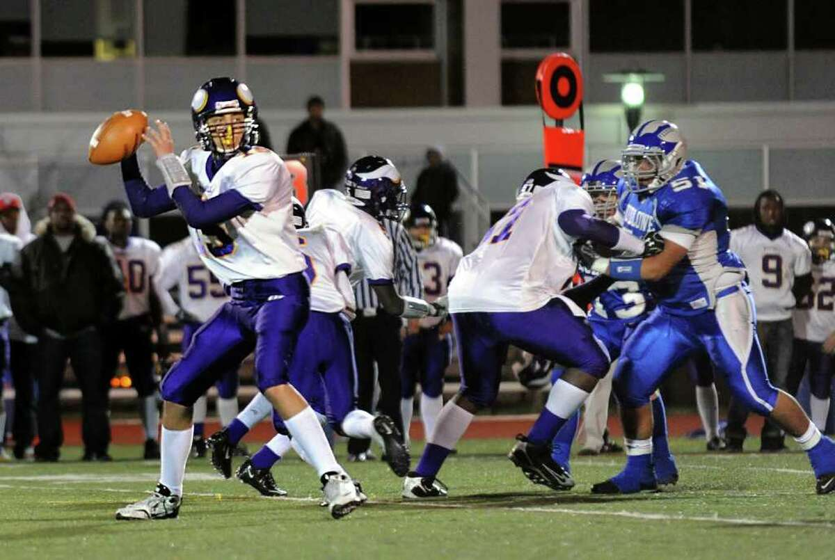 Westhill's QB Peter Cemanski gets ready to throw a pass, during football action against Fairfield Ludlowe in Fairfield, Conn. on Friday November 12, 2010.