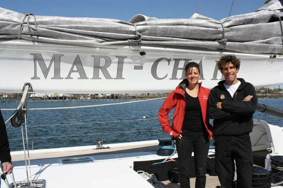 Yacht interior designer Joyce Clear of Bridgeport's Clear Designs International with Damien Durchon, captain of the Mari Cha is, 150-foot ketch whose interior Clear refitted.. Photo: Contributed Photo / Connecticut Post Contributed