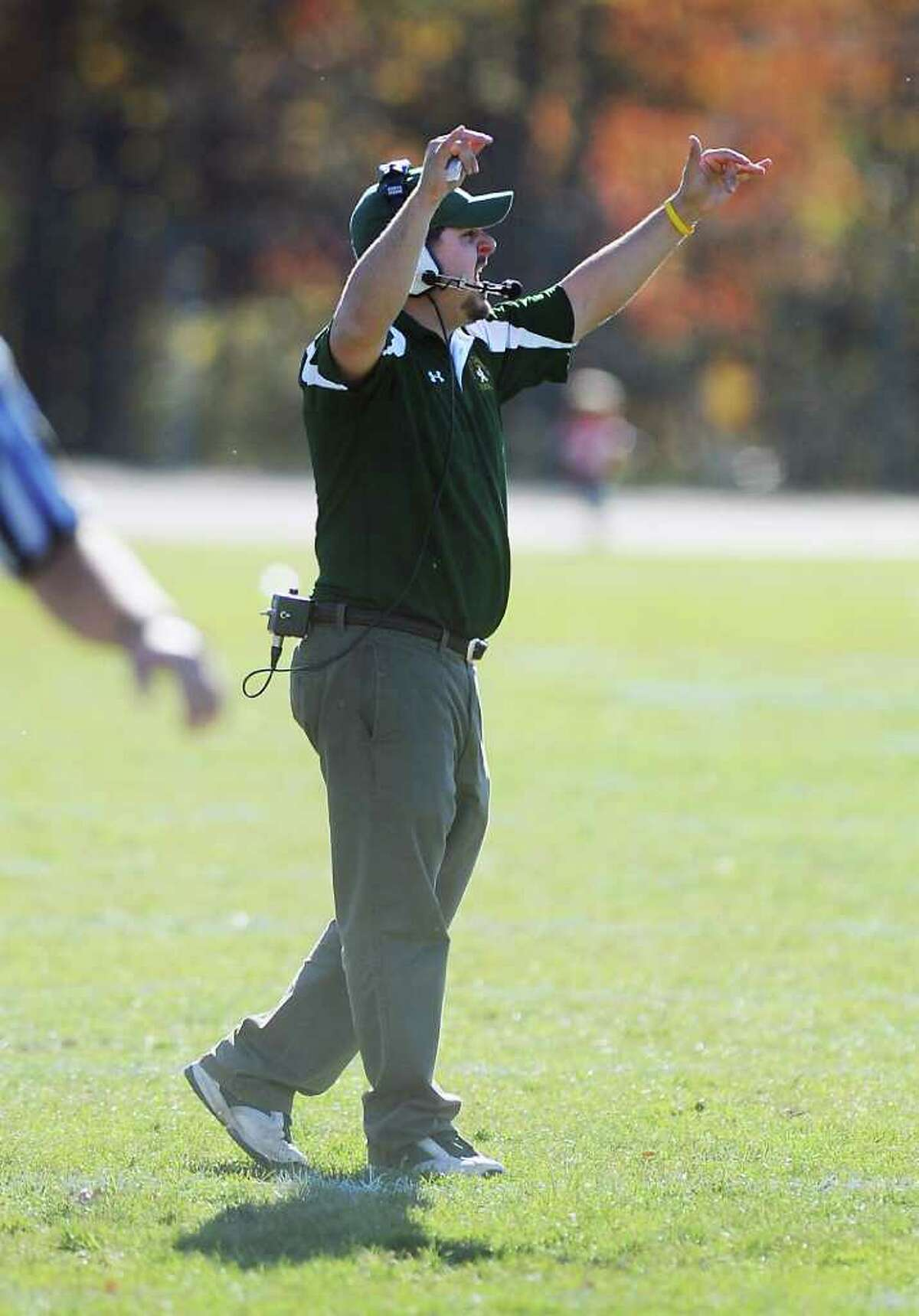 Trinity Catholic's interim head coach Joe Claps on the sidelines as they host Stamford High in football action in Stamford, Conn. on Saturday November 13, 2010