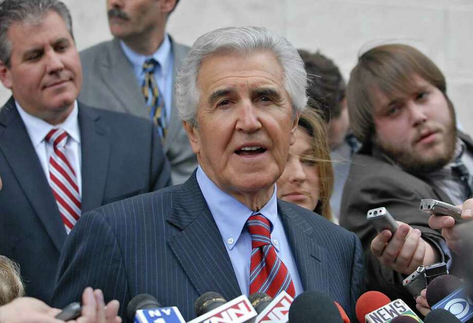 Former state Senate Majority Leader Joseph L. Bruno talks to the press outside U.S. District Court after his sentencing May 2010 to 24 months in prison. He was free pending appeal. Bruno's trial revealed he had used Senate staffers for his personal affairs but was never charged. (Lori Van Buren / Times Union) Photo: LORI VAN BUREN / 00008609B