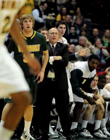Siena head coach Mitch Buonaguro watches his team play Vermont. (Michael P. Farrell/Times Union ) Photo: Michael P. Farrell