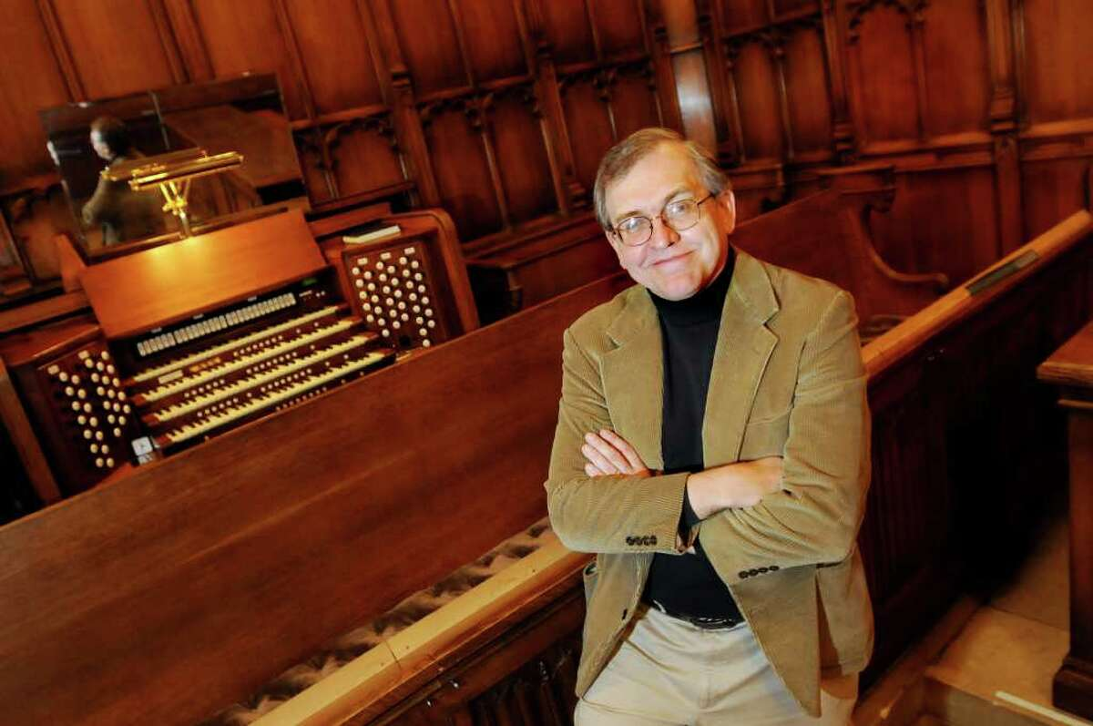 Al Fedak, minister of music and arts, sits at the organ on Thursday, Nov. 4, 2010, at Westminster Church in Albany, N.Y. (Cindy Schultz / Times Union)