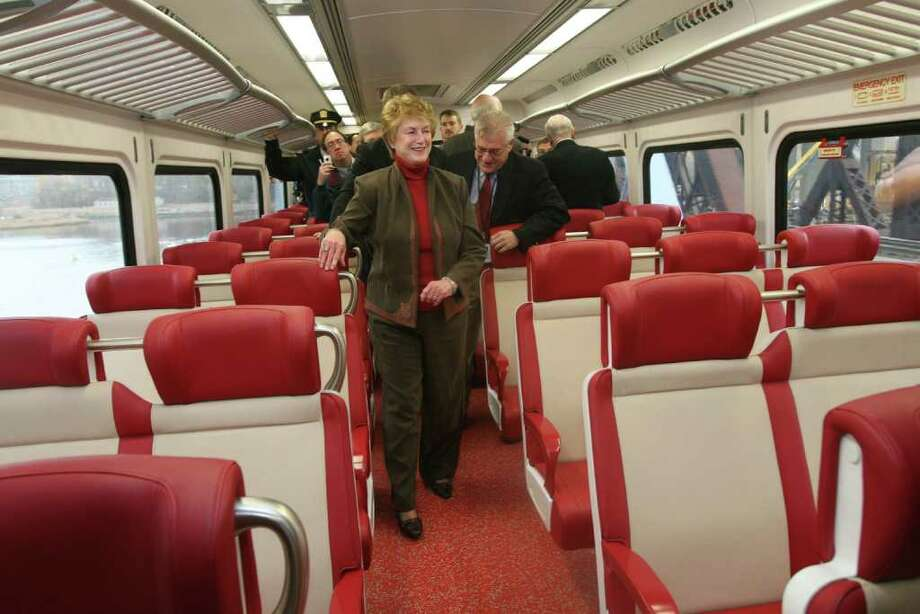 Governor M.  Jodi Rell rides a new M-8 rail car from New Haven to Fairfield during a test run with  officials from the Department of Transportation and members of the press on Monday, November 15, 2010. Photo: B.K. Angeletti / Connecticut Post