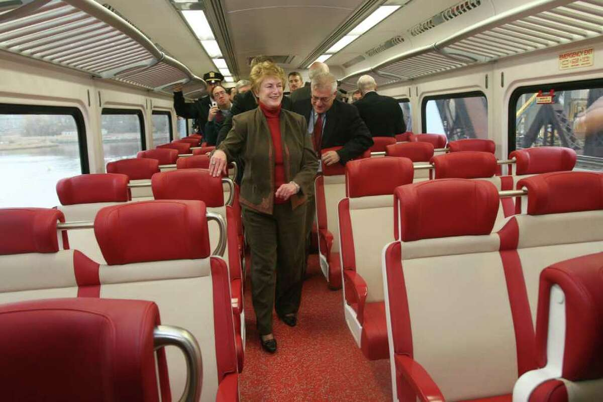 Governor M. Jodi Rell rides a new M-8 rail car from New Haven to Fairfield during a test run with officials from the Department of Transportation and members of the press on Monday, November 15, 2010.