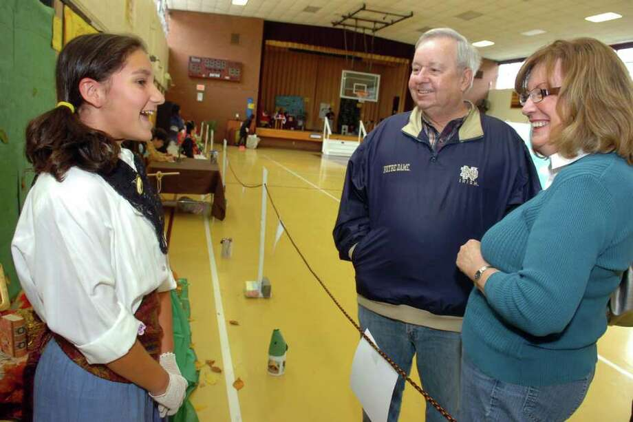 A living wax museum history project at St. Theresa School in Trumbull, Conn. Monday, Nov. 15th, 2010. Dozens of students dressed up as a historical figure of their choice, and brought that character to life as they told a short biography. Photo: Ned Gerard / Connecticut Post