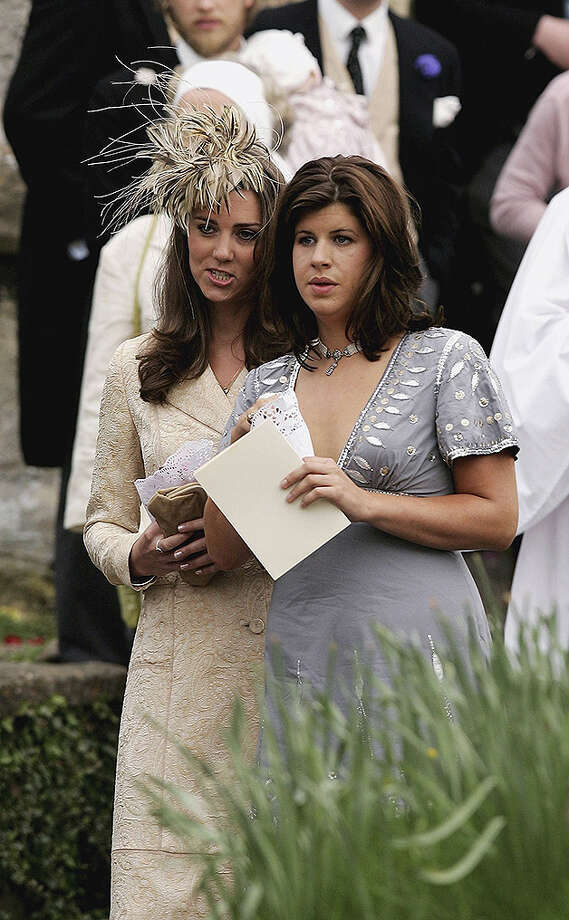 LACOCK, UNITED KINGDOM - MAY 06:  Girlfriend of Prince William Kate Middleton (L) leaves Laura Parker Bowles wedding to Harry Lopes at St Cyriac's Church, Lacock on May 6, 2006 in Wiltshire, England. 26-year old Laura (daughter of Camilla and her former husband Andrew), and 29-year old Harry (nephew of the late Lord Roborough and grandson of the late Lord Astor of Hever) announced their engagement in November, having dated for nine years.  (Photo by Chris Jackson/Getty Images) Photo: Chris Jackson, Getty Images / 2006 Getty Images