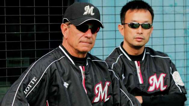 2009: Chiba Lotte Marines manager Bobby Valentine, left, watches his team's practice prior to their regular season baseball game against the Chunichi Dragons at Chiba Marine Stadium in Chiba, near Tokyo, Japan, Friday, May 22, 2009. Photo: File Photo / Stamford Advocate File Photo
