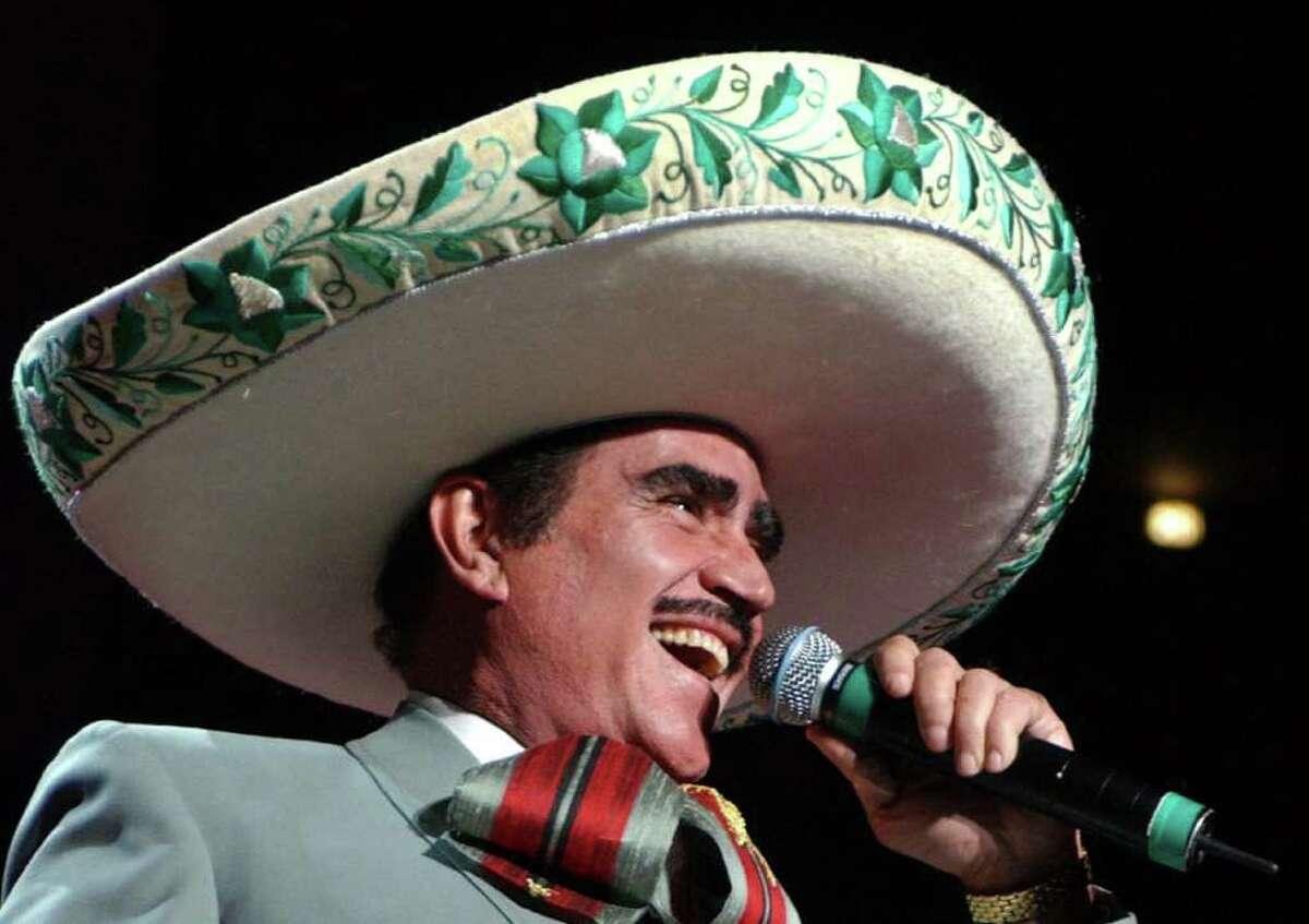 Vincente Fernandez and Paquita La Del Barrio perform Saturday at 8 p.m. at the Toyota Center in Houston. (AP Photo/ (Louis Lanzano)
