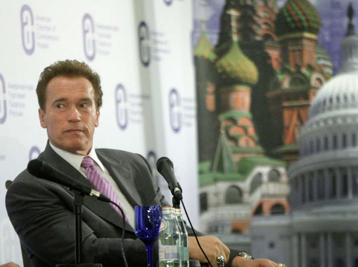 California's Gov. Arnold Schwarzenegger looks on during a meeting with businessmen in Moscow, Russia, on Monday. Schwarzenegger is leading a delegation of Silicon Valley business leaders and venture capitalists on a trip intended to help connect them with Russian counterparts. AP Photo/Mikhail Metzel
