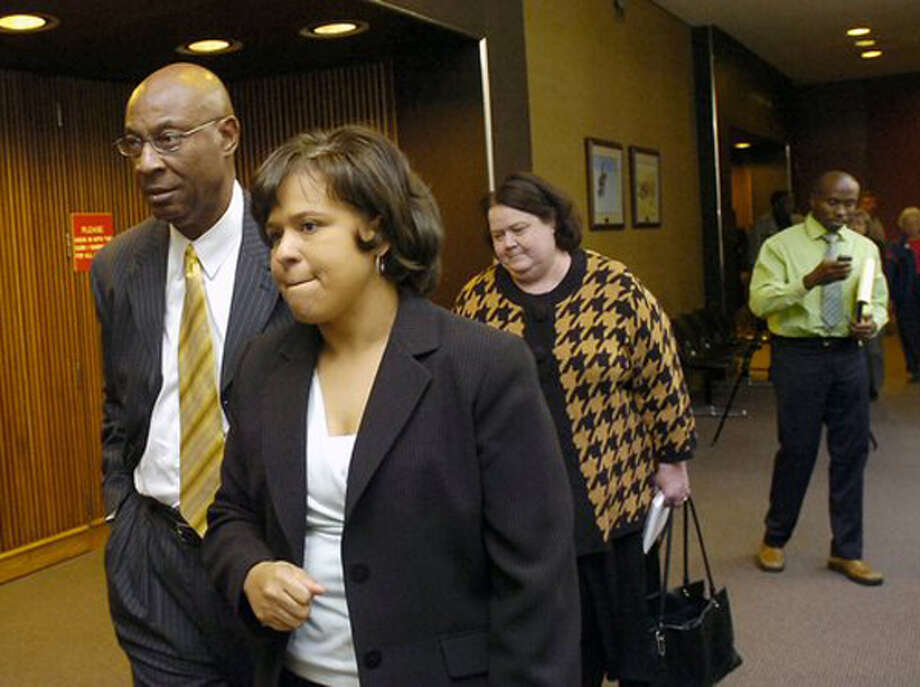BISD Superintendent Carrol Thomas, left, and BISD attorney Melody Chappell leave Judge Donald Floyd's 172nd District Court after the judge recessed the court. Floyd is hearing an injunction case filed against BISD by the BETTER group. Michael Getz is the attorney for the BETTER group. Dave Ryan/The Enterprise / Beaumont