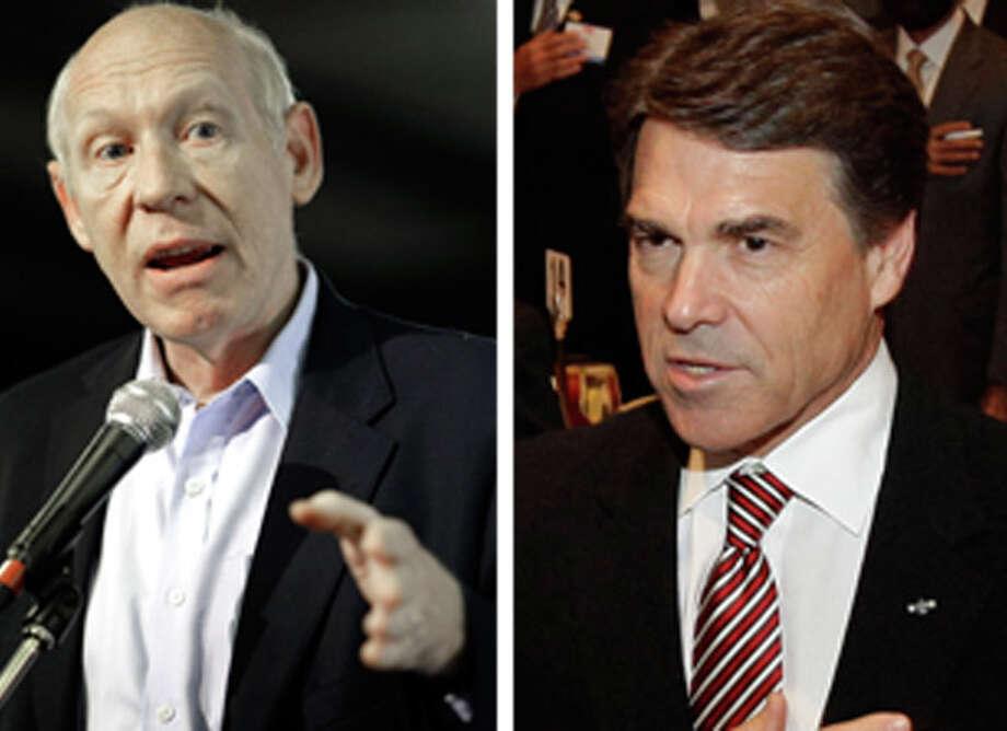 Democratic candidate Bill White (left) and Republican Gov. Rick Perry