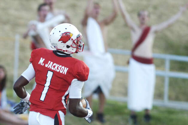 Lamar wide receiver Marcus Jackson cruises into the end zone after completing his 47-yard touchdown reception in the first half against Langston University at Provost Umphrey Stadium. Saturday, October 9, 2010 Valentino Mauricio/The Enterprise / Beaumont