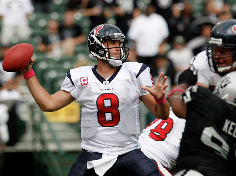 Houston Texans quarterback Matt Schaub throws against the Oakland Raiders during the second quarter of an NFL football game in Oakland, Calif., Sunday. AP Photo/Paul Sakuma / AP