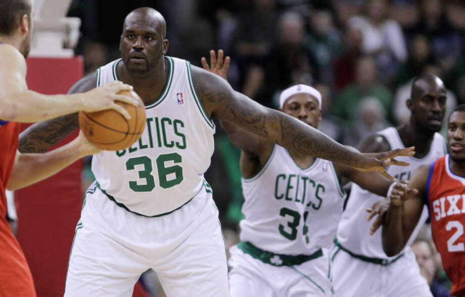 Boston Celtics center Shaquille O'Neal (36) has served insults to Chris Bosh, Ricky Davis and Chris Quinn among others and punched Brad Miller; he isn't the players' most popular player. (AP Photo/Charles Krupa) / AP