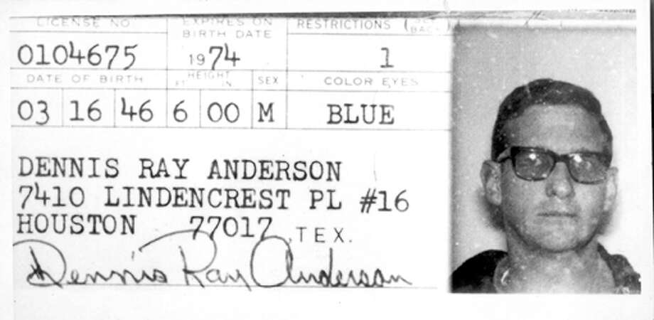 The driver's license of Dennis Ray Anderson at the time of his arrest.