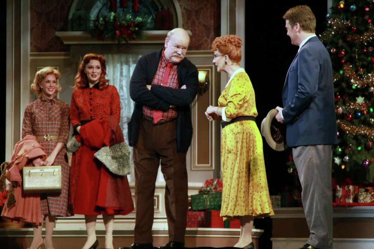 Shannon M. O?Bryan, left, Amy Bodnar, Erick Devine, Ruth Williamson and John Scherer in a scene from Irving Berlin?s White Christmas. (Tanner Photography)
