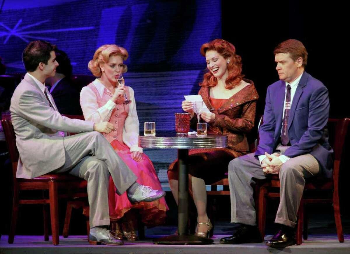 Denis Lambert, left, Shannon M. O?Bryan, Amy Bodnar and John Scherer in a scene from Irving Berlin?s White Christmas. (Tanner Photography)