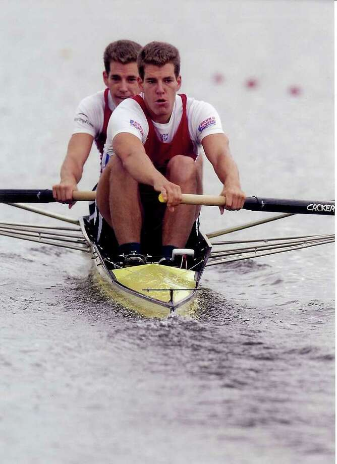 Olympic rowers, entrepreneurs and identical twins, Tyler and Cameron Winklevoss present a formidable show of teamwork while competing at a 2006 national selection regatta. For the 2012 Olympic Games they are training 6 days a week, 11 months of the year. Photo: Contributed Photo / Greenwich Citizen