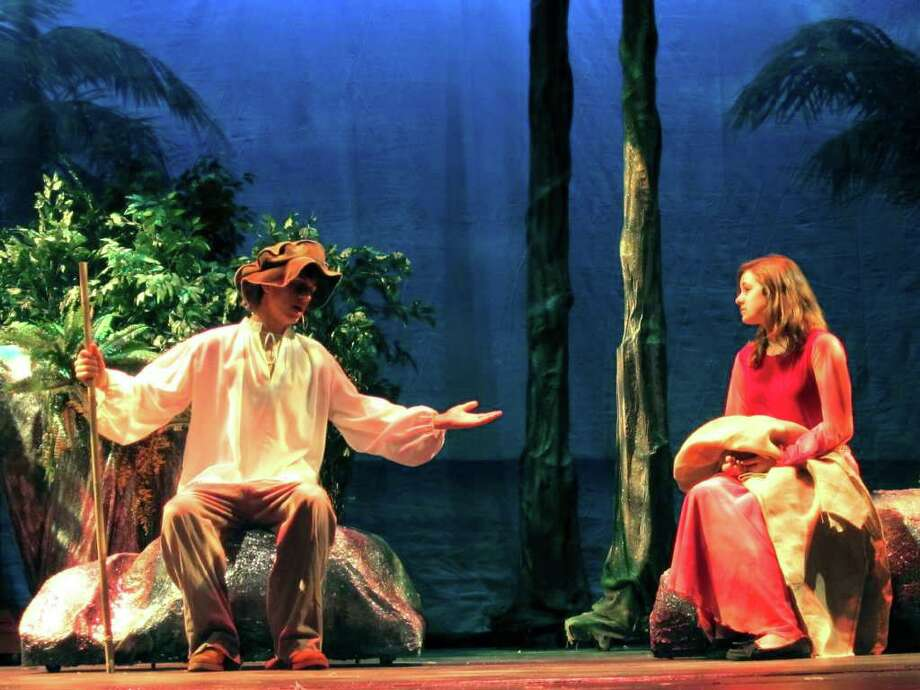 """'The Tempest'  SPECTRUM/Logan Pettinato as Prospero as Kacey Marra as Miranda are leads in a Canterbury School theater production of Shakespeare's """"The Tempest,"""" November 2010. Photo: Norm Cummings / The News-Times"""