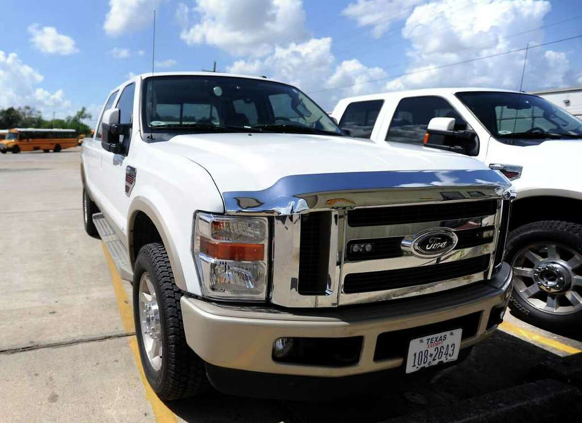 Two trucks from the Beaumont ISD Transportation Department have been seized by the constable's office to be auctioned off to pay for attorney fees from the South Park case. Tammy McKinley/The Enterprise