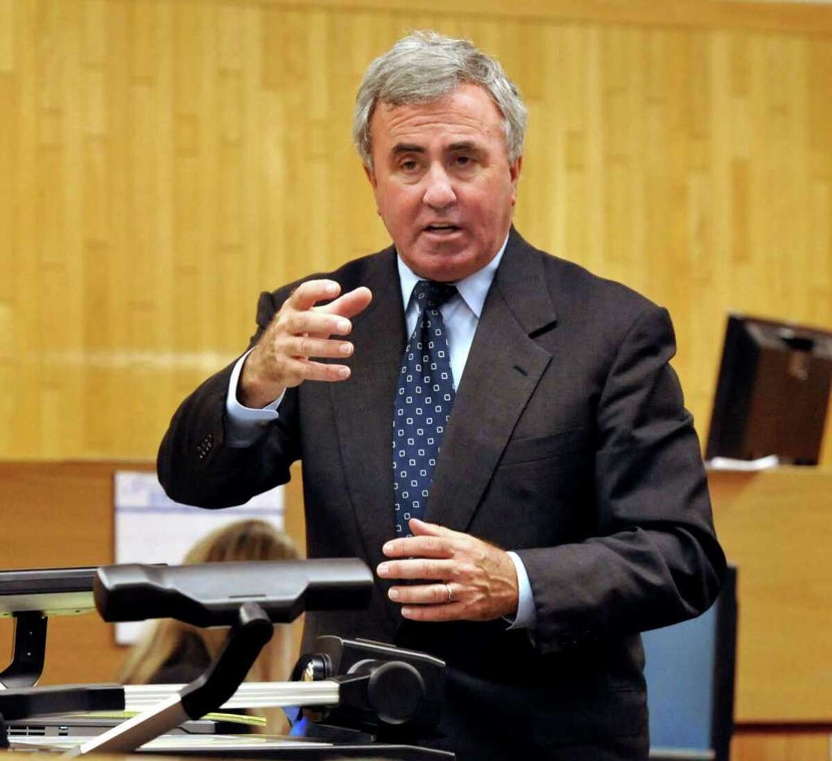 Defense Attorney Mickey Sherman makes his opening statement in the courtroom at Danbury Superior Court in the murder trial of Marash Gojcaj, Wednesday, Sept. 29, 2010. Sherman faces up to two years in prison as a result of his guilty pleas last summer to two misdemeanor charges of failing to pay $420,710 in owed income taxes for the years 2001 and 2002. He already repaid the taxes owed.