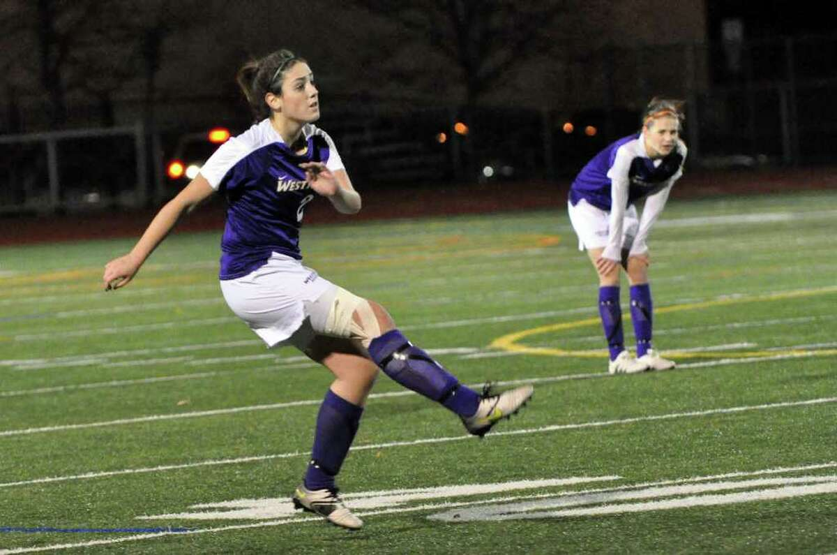 Westhill's Teressa Dunster takes a penalty kick against Hamden during the Class LL girls soccer semifinals at Norwalk High on Wednesday, Nov. 17, 2010.