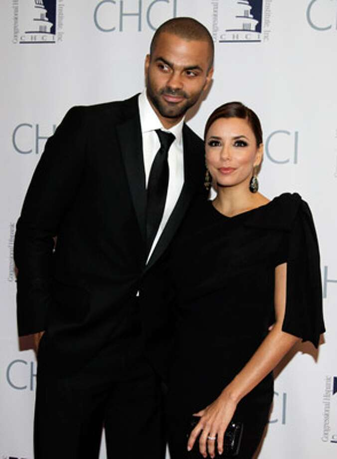 Tony Parker and Eva Longoria Parker pose at the Congressional Hispanic Caucus Institute's 33rd annual awards event in Washington, D.C., in September. Longoria Parker filed for divorce Wednesday in Los Angeles.