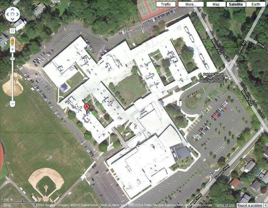 Aerial view of Fairfield Warde High School, which needs $6 million worth of roof work. Photo: Contributed Photo / Fairfield Citizen contributed