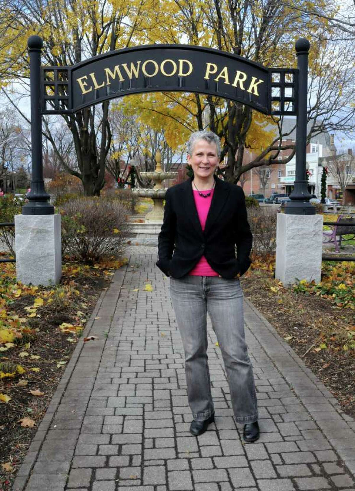 Jane Didona of Didona Associates is a landscape architect. Didona designs parks and outdoor spaces. Didona designed Elmwood Park in dowtown Danbury. Pictured here on Wed. Nov. 17, 2010 at the park.