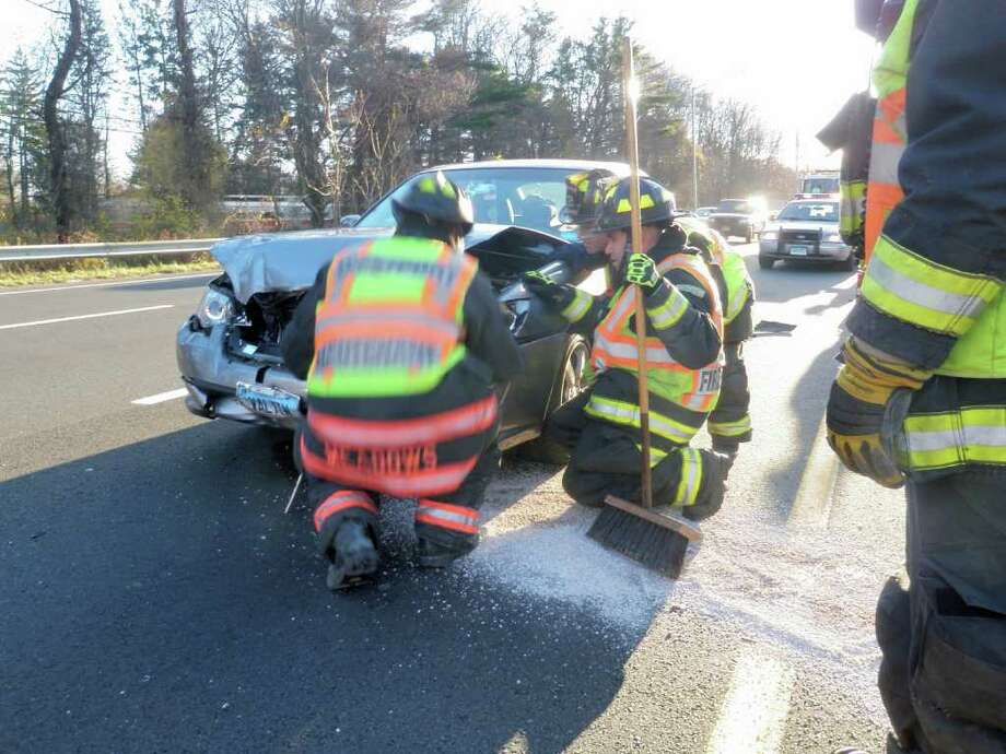 Westport firefighters responded to a multi-vehicle accident with injuries on Interstate 95 northbound, between exits 18 and 19, at approximately 3:04 p.m. Photo: Contributed Photo / Westport News contributed