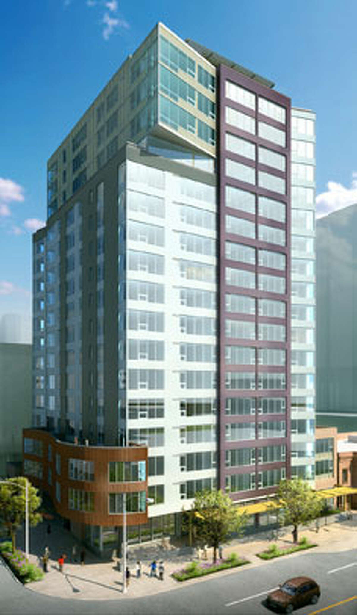 A rendering of Alto, a 17-story, 184-unit apartment building under construction in Belltown.