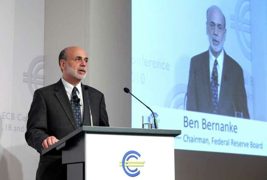 Ben S. Bernanke, chairman of the U.S. Federal Reserve, speaks during the Sixth European Banking Congress in Frankfurt, Germany, on Friday, Nov.19, 2010. Irish bonds rose for a third day as European Union, International Monetary Fund and European Central Bank officials spent a second day in Dublin before a possible bailout of the nation's banks. Photographer: Hannelore Foerster/Bloomberg *** Local Caption *** Ben S. Bernanke Photo: Hannelore Foerster, Bloomberg / © 2010 Bloomberg Finance LP