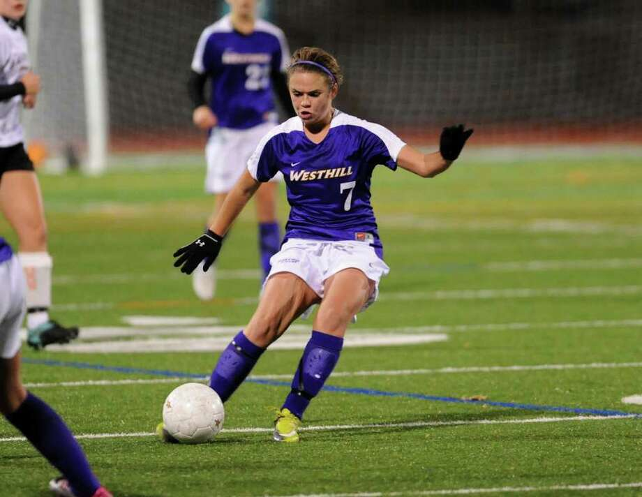 Highlights from Class LL girls final championship soccer match between Shelton and Westhill in Norwalk, Conn. on Friday November 19, 2010. Westhill's #7 Bingham Camille. Photo: Christian Abraham / Connecticut Post