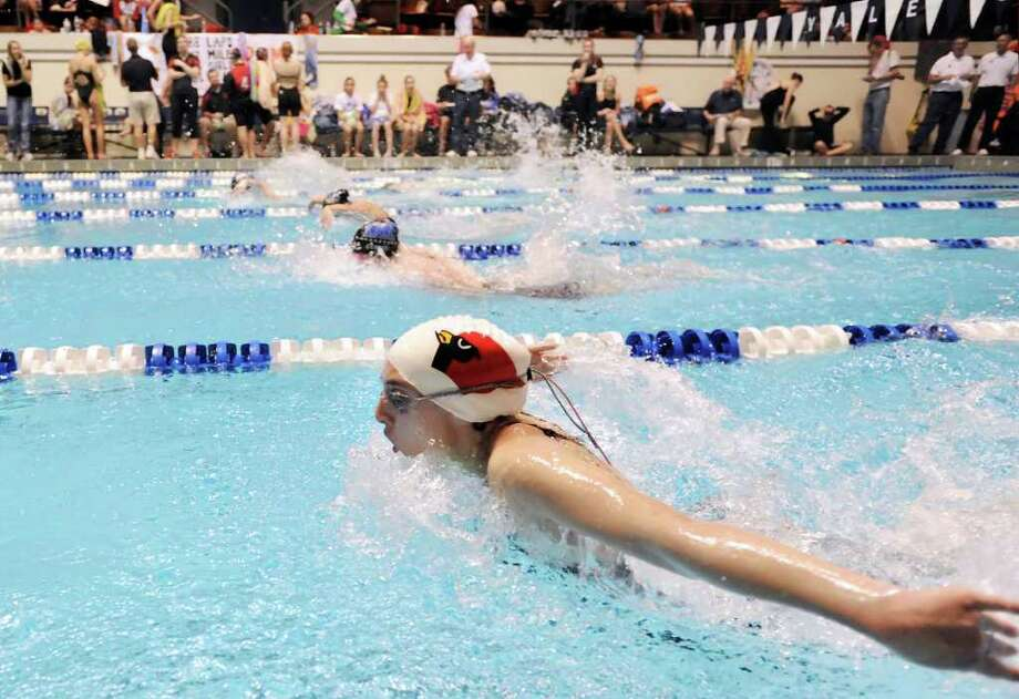 Kate Madoff of Greenwich High School competes in the 100 yard butterfly event during the CIAC State Open Girls Swimming Championship at Yale University, New Haven, Conn., Saturday afternoon, Nov. 20, 2010. Photo: Bob Luckey / Greenwich Time