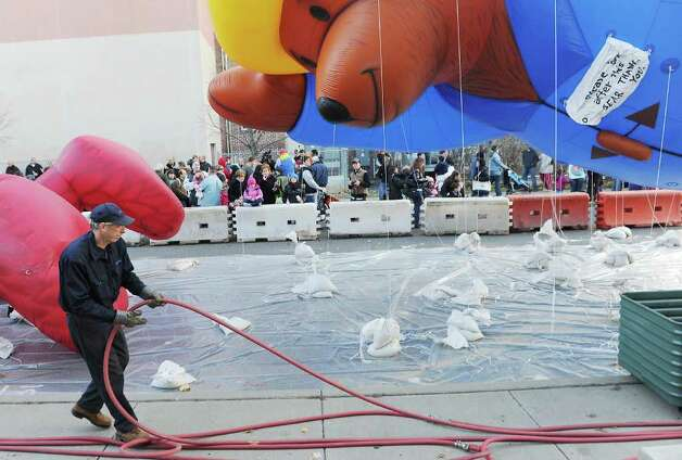 The balloons come to life at the SAC Capital Advisors Giant Balloon Inflation Party on Hoyt Street in Stamford, Conn. on Saturday November 20, 2010 in preparation for Sunday's UBS Parade Spectacular. Photo: Kathleen O'Rourke / Stamford Advocate