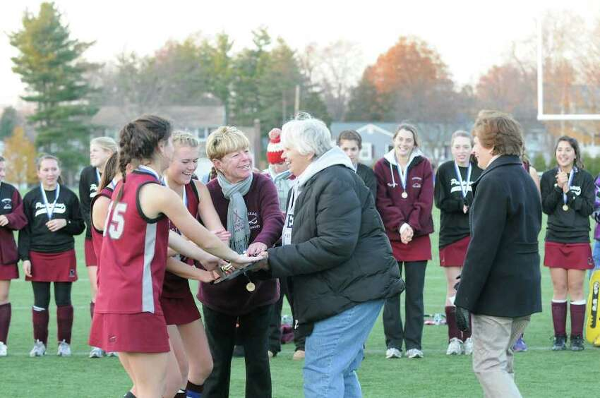 After two overtime periods, Pomperaug High School shares the state championship with Glastonbury High School for the Class L field hockey state tournament at Wethersfield High School in Wethersfield, CT on Saturday November 20, 2010.