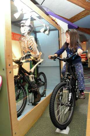 Christina Zinicola, 5, of Stamford, watches how a skeleton on a bike moves as she pedals a bike at Stepping Stones Museum for Children during the grand re-opening on Saturday, Nov. 20, 2010. Photo: Amy Mortensen / Connecticut Post Freelance