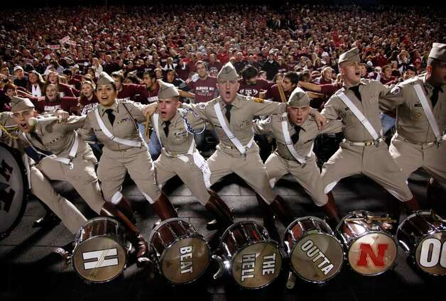 Texas A&M Aggies Cadet Corps drummers sing the Aggie War Hymn before facing the Nebraska Cornhuskers at Kyle Field, Saturday, November  20, 2010. Photo: TOM FOX/Staff Photographer, The Dallas Morning News / 10006638A