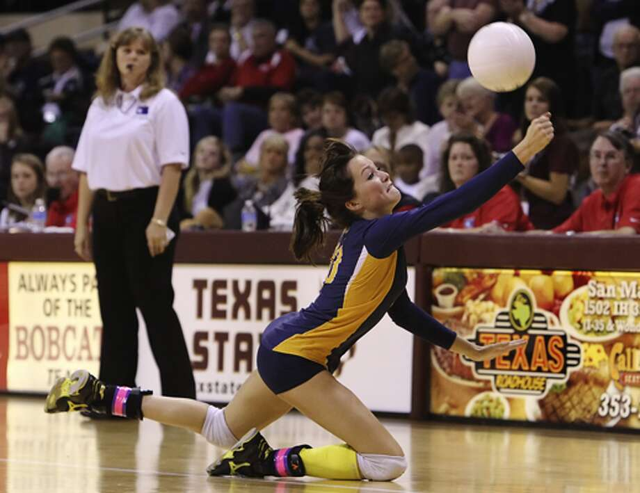 Poth's Tara Broyles chases down a shot Saturday against White Oak in the Class 2A state championship at Strahan Coliseum. The loss was just the Pirettes' fourth in 146 matches against 2A competition since 2002.
